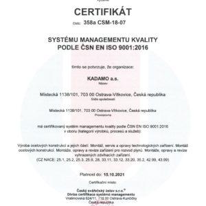 Certifikát systému řízení kvality dle ČSN EN ISO 9001:2016