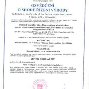 Osvědčení kprovádění výroby ocelových konstrukcí do třídy EXC3 dle EN 1090-2+A1