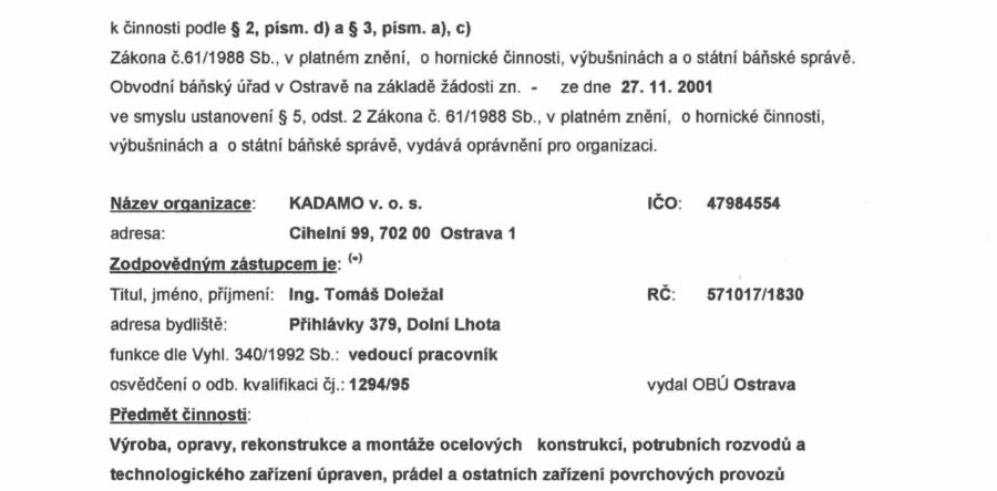 Oprávnění vydané OBÚ podle zákona č. 61/1988 Sb.