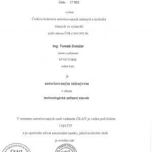 Autorizace pro obor technologická zařízení staveb