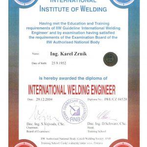 Diplom mezinárodního svářečského inženýra IWE/CZ 04520