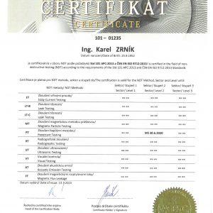 Certifikát pro penetrační zkoušení PT 2 dle ČSN EN ISO 9712:2013