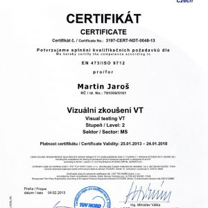 Certificate for visual testing VT 2 according to ISO 2012