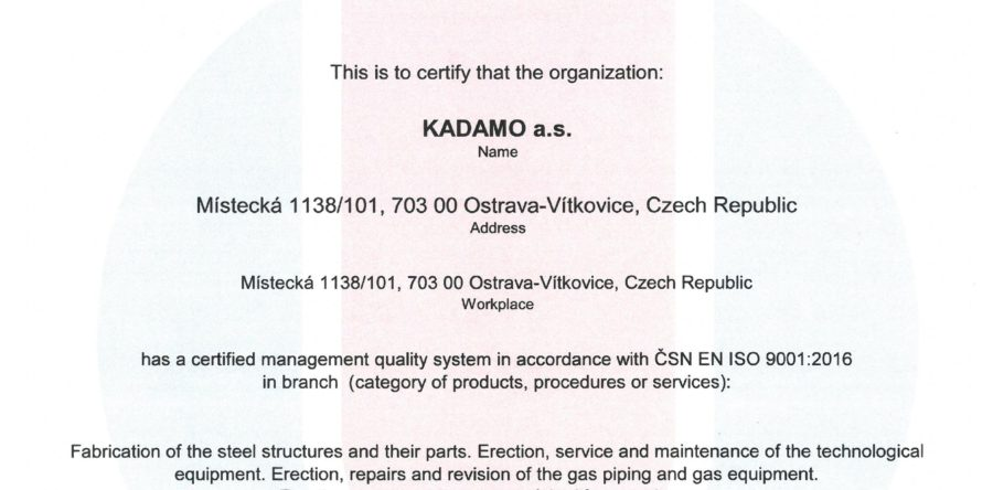Certificate of the quality management system acc. ČSN EN ISO 9001:2016