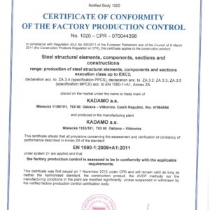 Approval attestation of producing steel constructions up to class EXC3 acc. EN 1090-2+A1
