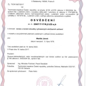 Certificate for revisions and revision tests of reserved lifting equipment