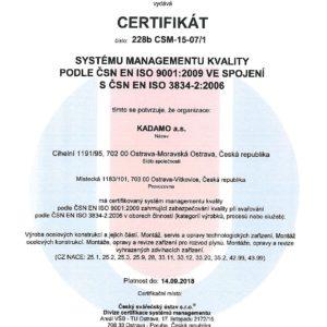 Certifikát systému řízení kvality ve svařování dle ČSN EN ISO 3834-2:2006
