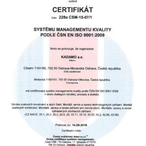 Certifikát systému řízení kvality dle ČSN EN ISO 9001:2009