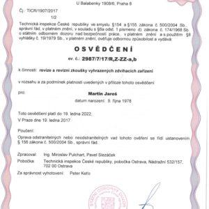 Osvědčení pro revizi a revizní zkoušky vyhrazených zdvihacích zařízení