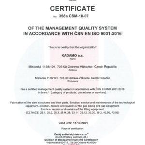 Zertifikat Qualitätssicherungssystem nach ČSN EN ISO 9001:2016