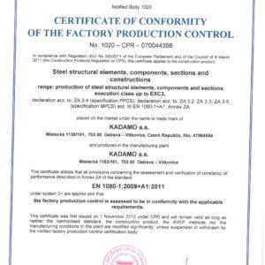 Bescheinigung zur Durchführung von Stahlkonstruktionen bis zur Klasse EXC3 nach EN 1090-2+A1