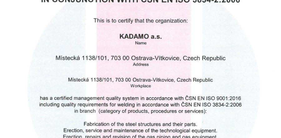 Zertifikat Qualitätssicherung im Schweißen nach ČSN EN ISO 3834-2:2006