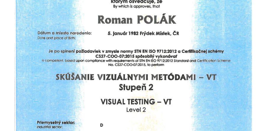 ZERTIFIKAT FÜR VISUAL PRÜFUNGEN VT 2 NACH EN ISO 9712:2012