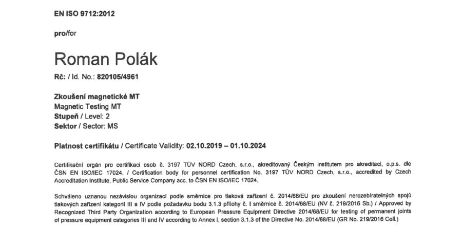 ZERTIFIKAT FÜR MAGNETIC PRÜFUNGEN MT 2 NACH EN ISO 9712:2012