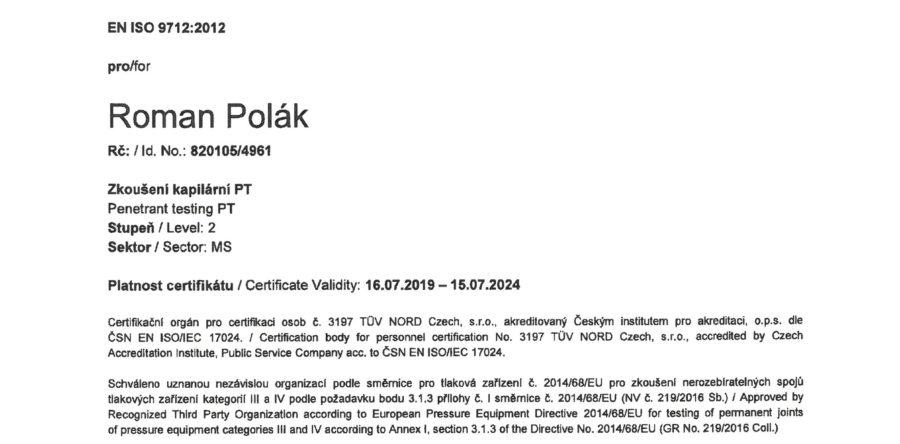 ZERTIFIKAT FÜR PENETRATION PRÜFUNGEN PT 2 NACH EN ISO 9712:2012