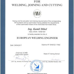 Diplom evropského svářečského inženýra EWE/CZ 17002