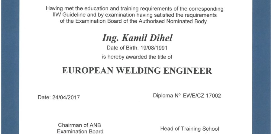 International European Engineer Diploma EWE/CZ 17002