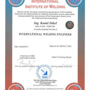 Diplom mezinárodního svářečského inženýra IWE/CZ 17002