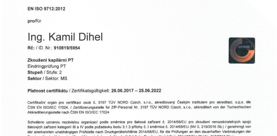 Zertifikat für die Penetrationsprüfung PT 2 nach  EN ISO 9712:2012
