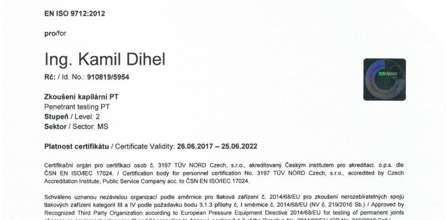 Certifikát pro penetrační zkoušení PT 2 dle  EN ISO 9712:2012
