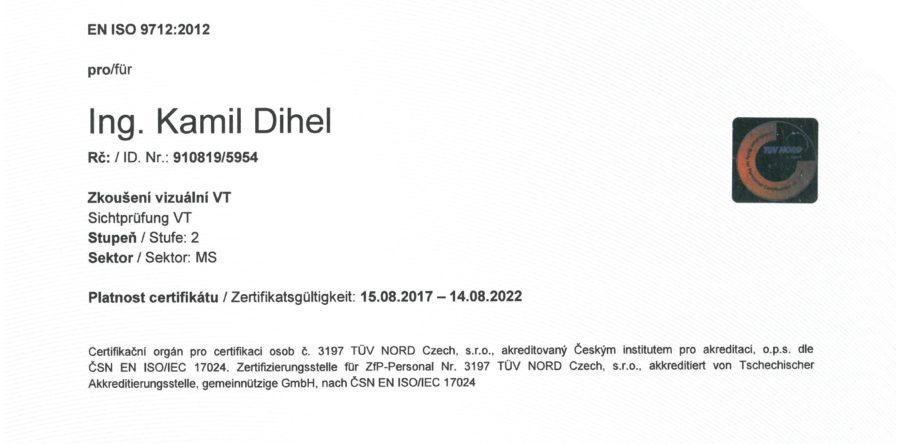 Zertifikat für visuelle Prüfungen VT 2 nach EN ISO 9712:2012