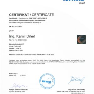 Certificate for Visual Testing VT2 according to EN ISO 9712:2012