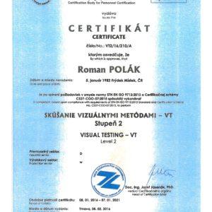 Certifikát PRO VIZUÁLNÍ ZKOUŠENÍ VT 2 DLE EN ISO 9712:2012