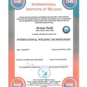 Diplom mezinárodního svářečského technologa IWT/CZ 15007