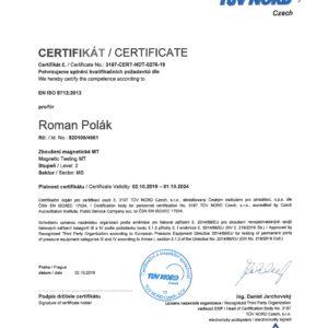 Certifikát pro magnetické zkoušení MT 2 dle EN ISO 9712:2012