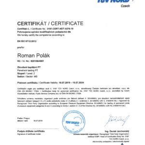 CERTIFICATE FOR PENETRATION TESTING PT 2 ACC. EN ISO 9712:2012